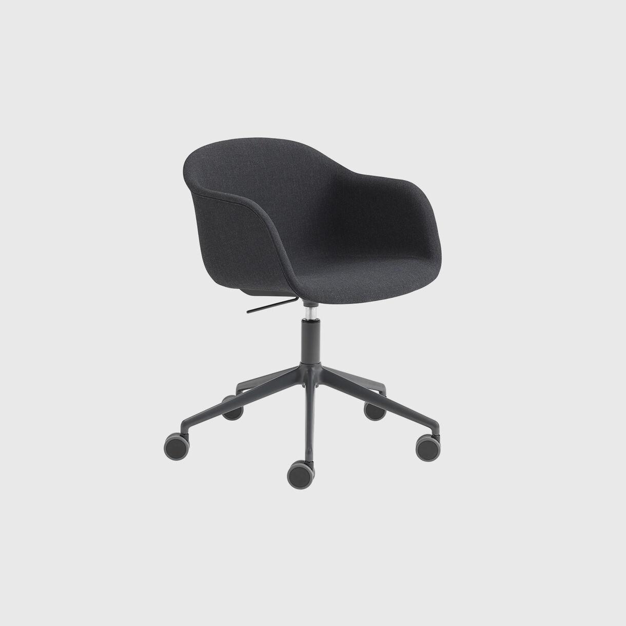 Fiber Armchair Upholstered, Remix 183 & Black, Swivel Base with Castors & Gas Lift, Grey