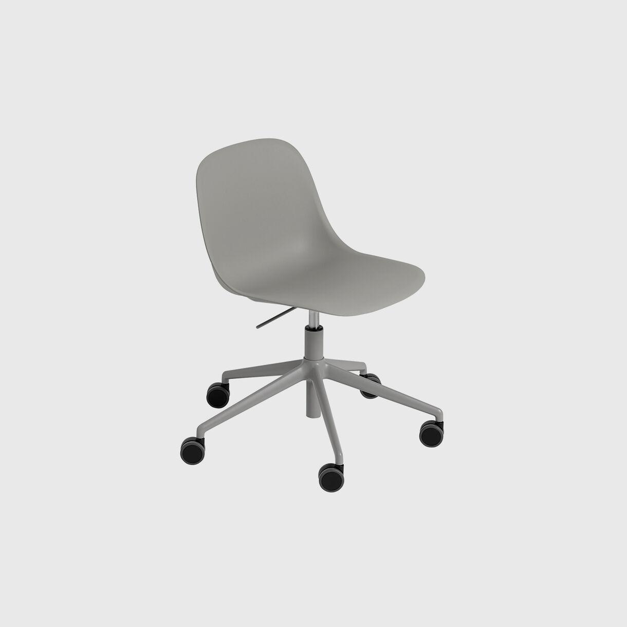 Fiber Side Chair, Swivel Base with Castors & Gas Lift, Grey