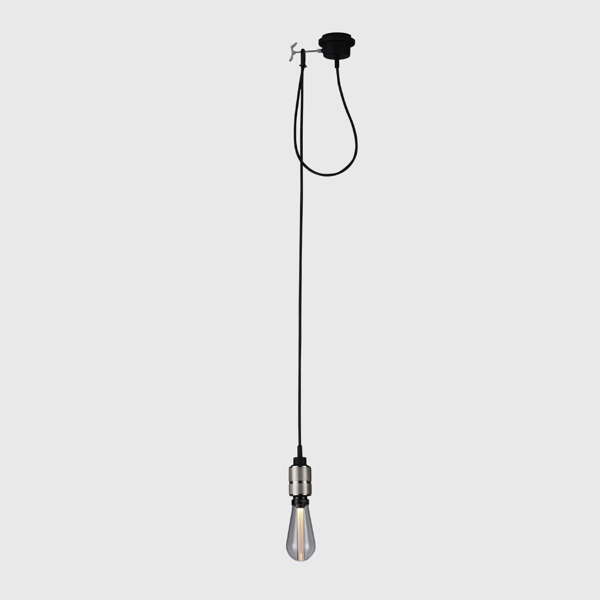 Hooked Pendant, Steel, Crystal Bulb