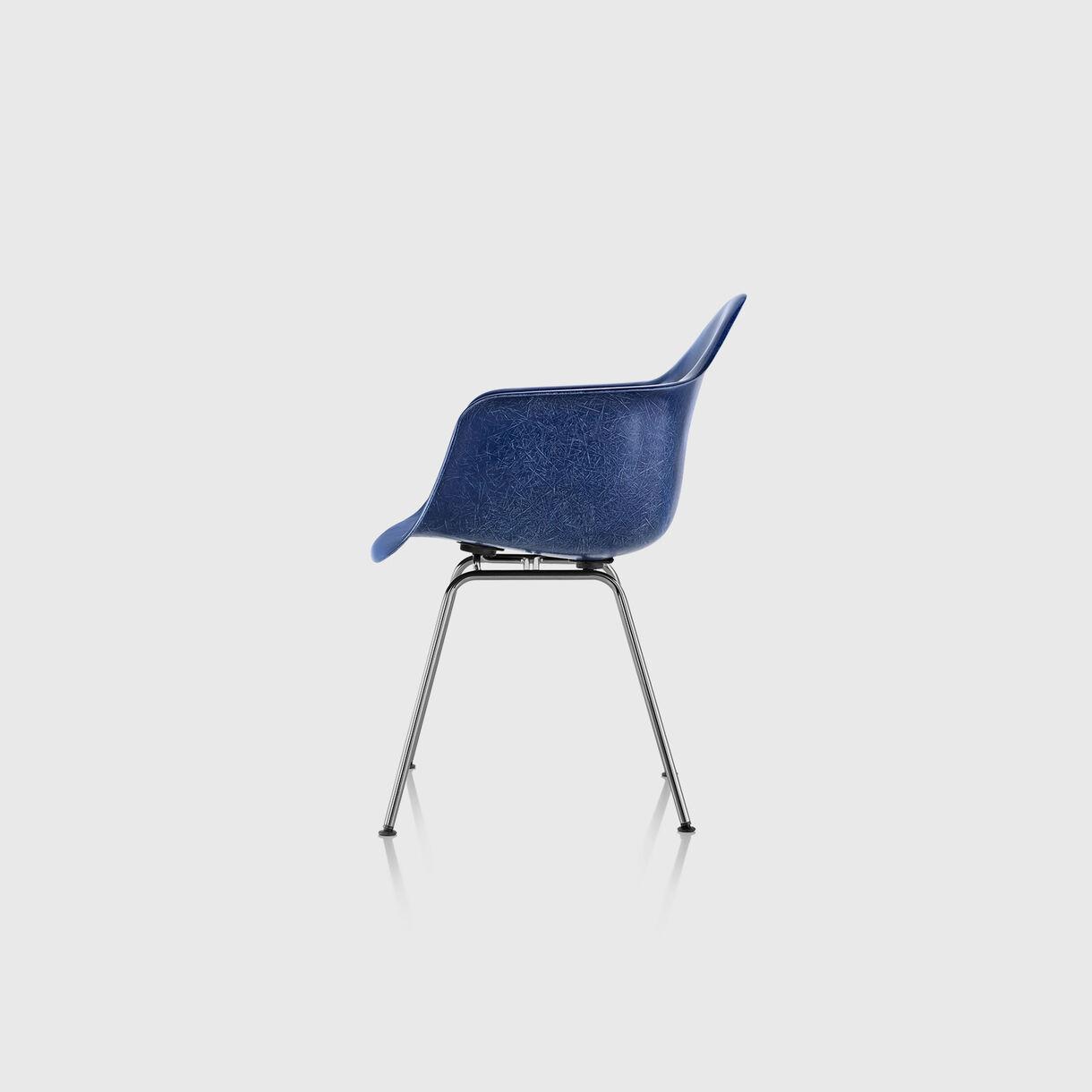 Eames Moulded Fibreglass Armchair, 4-Leg Base, Navy Blue
