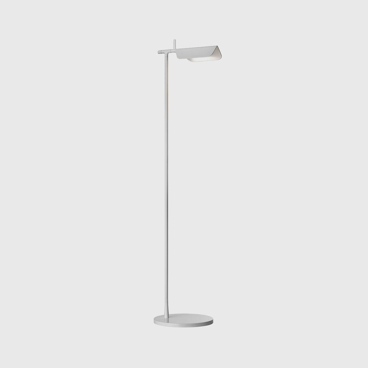 Tab Floor Lamp, White, On