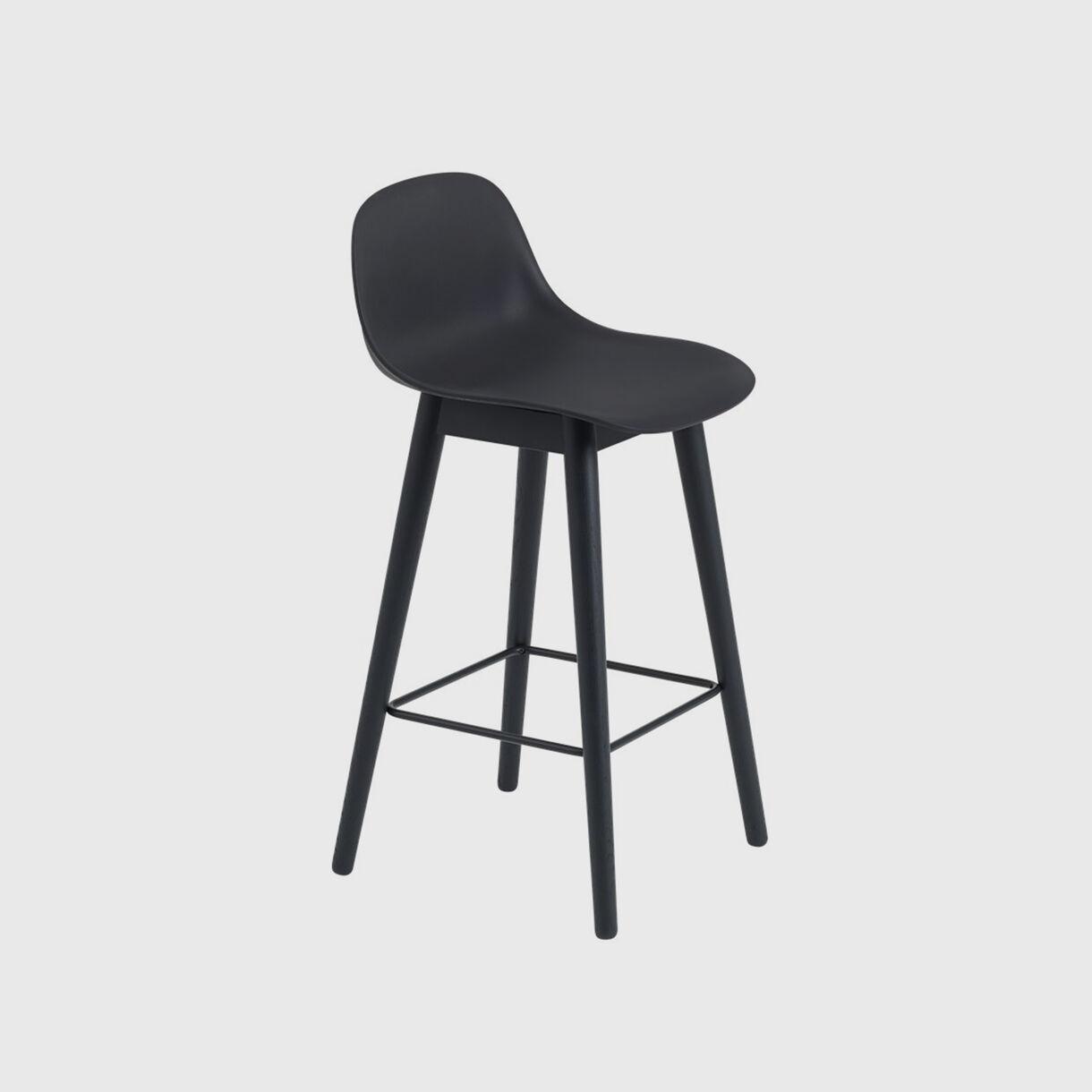 Fiber Counter Stool with Backrest Wood Base, Black