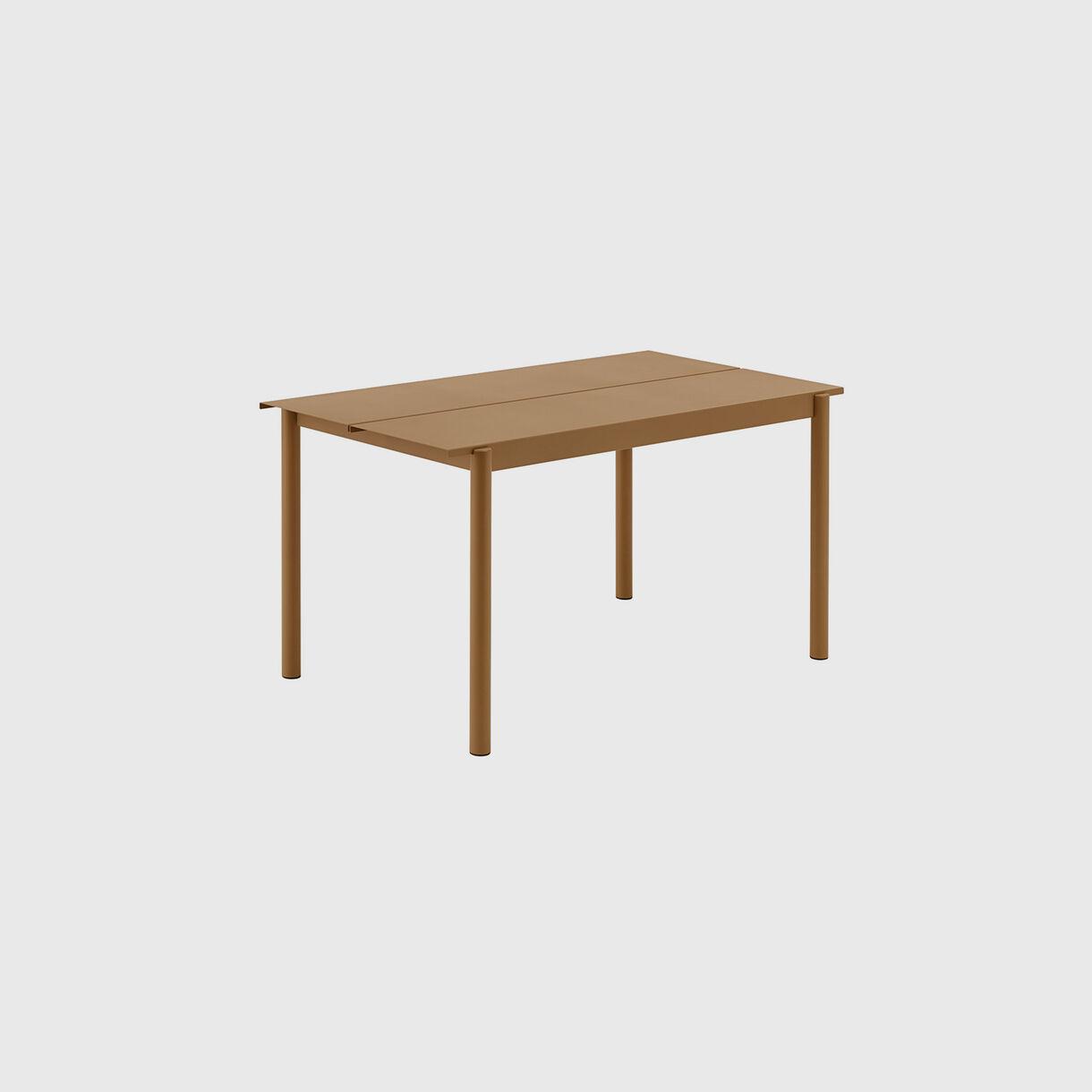 Linear Steel Table Small, Burnt Orange