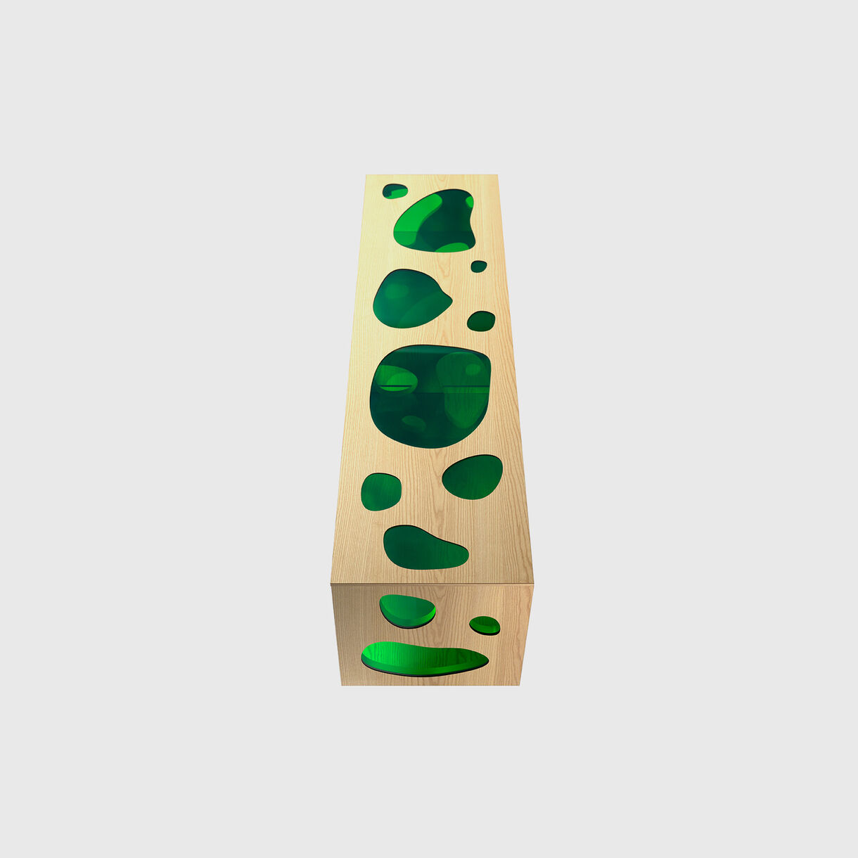 Aquario Cabinet, Green Glass & Natural Ash, Top