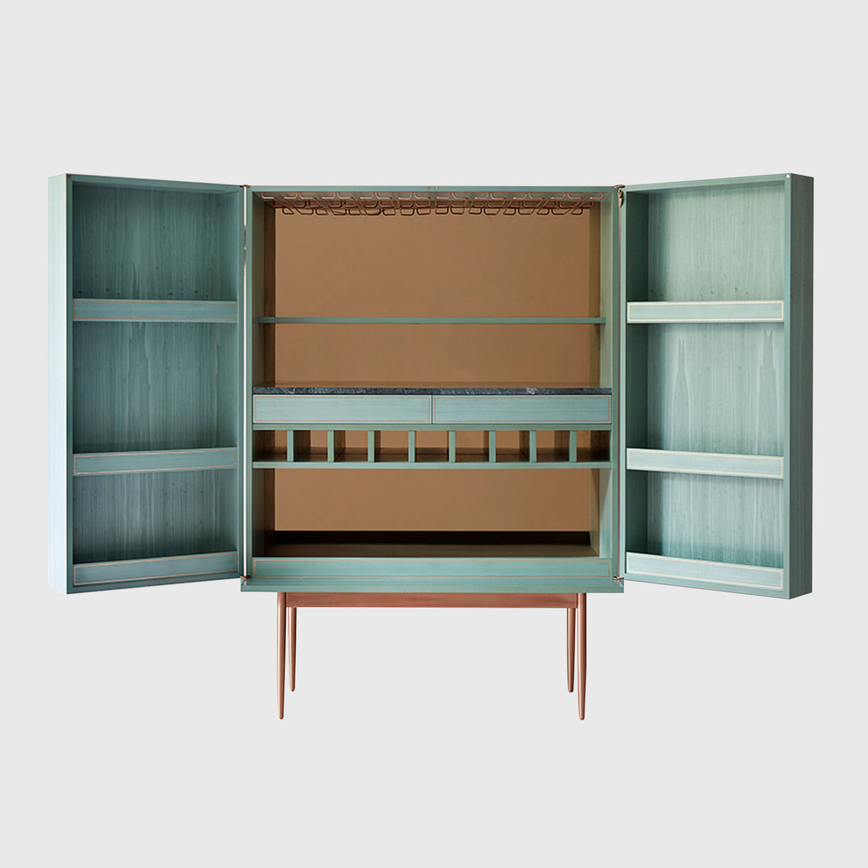 Dhow Bar Cabinet, Teal, Copper, Open