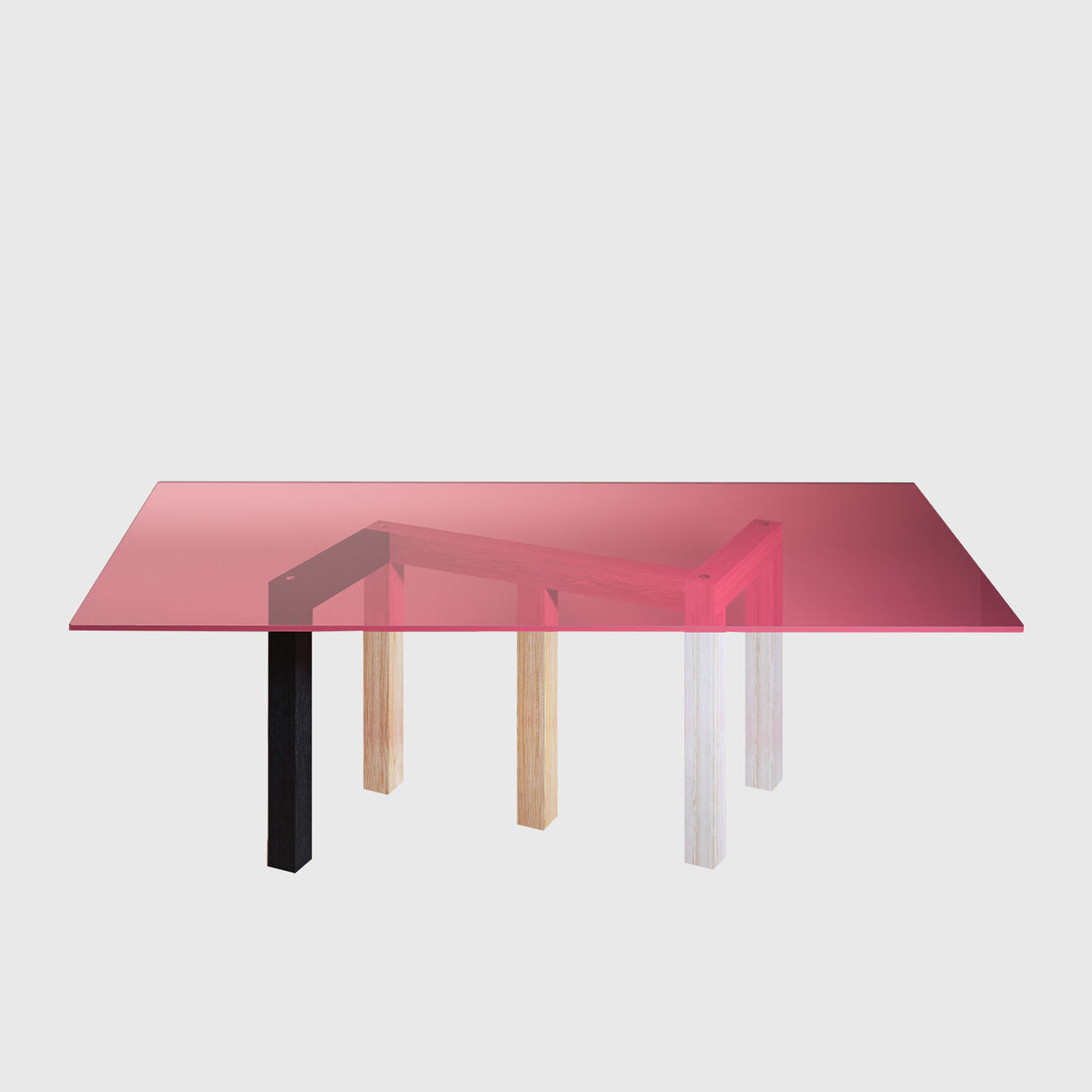 Penrose Table, Pink Glass Top