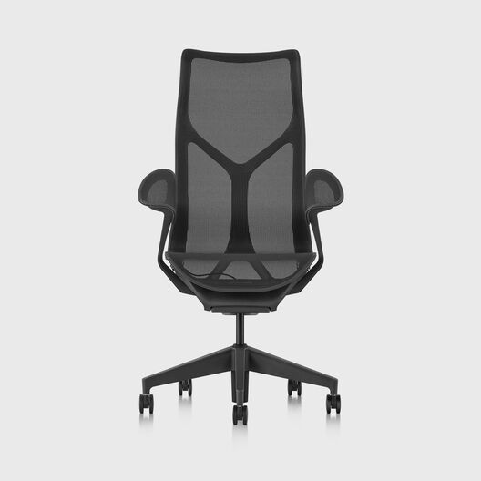 Cosm Chair, Graphite, High Back, Leaf Arms