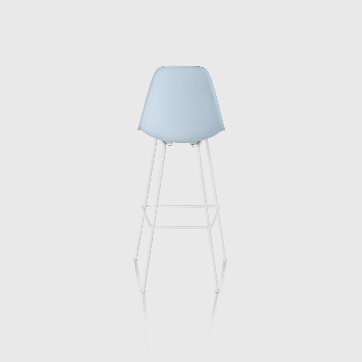 Eames Moulded Plastic Bar Stool, Alpine & White