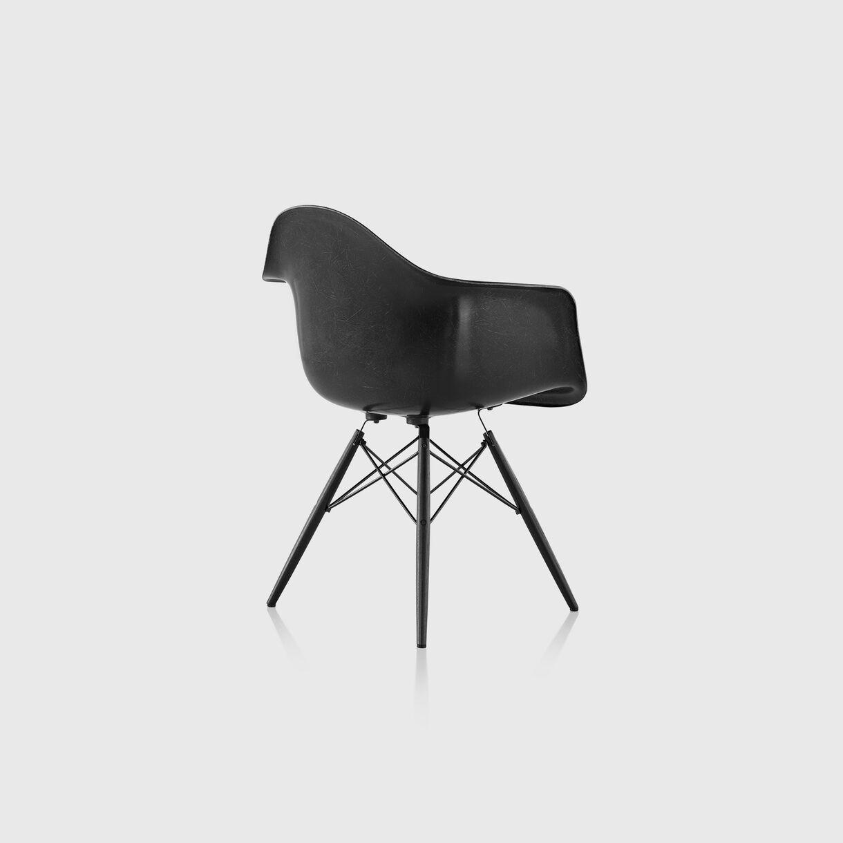 Eames Moulded Fibreglass Armchair, Dowel Base, Black & Ebony