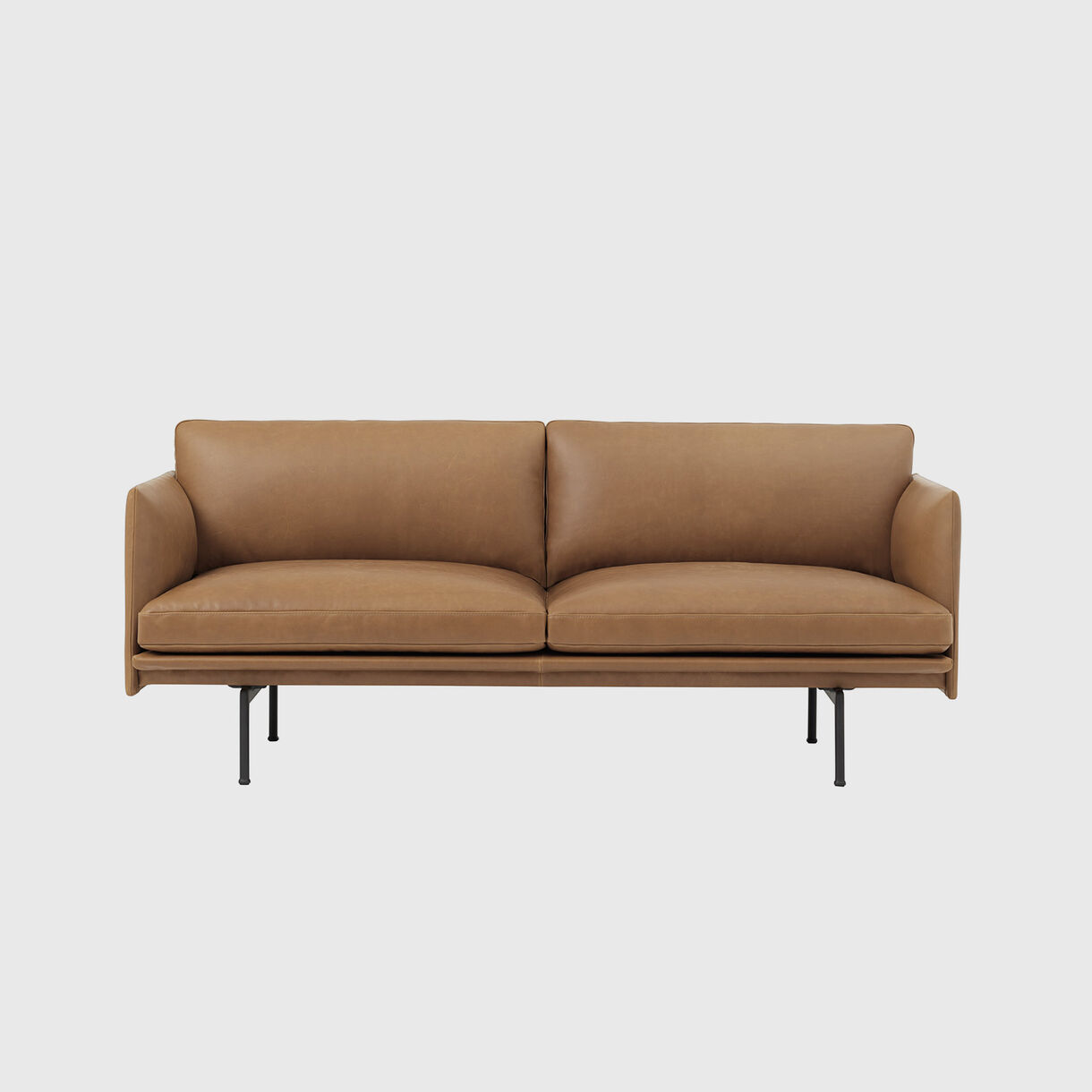 Outline 2 Seater Sofa, Cognac Leather
