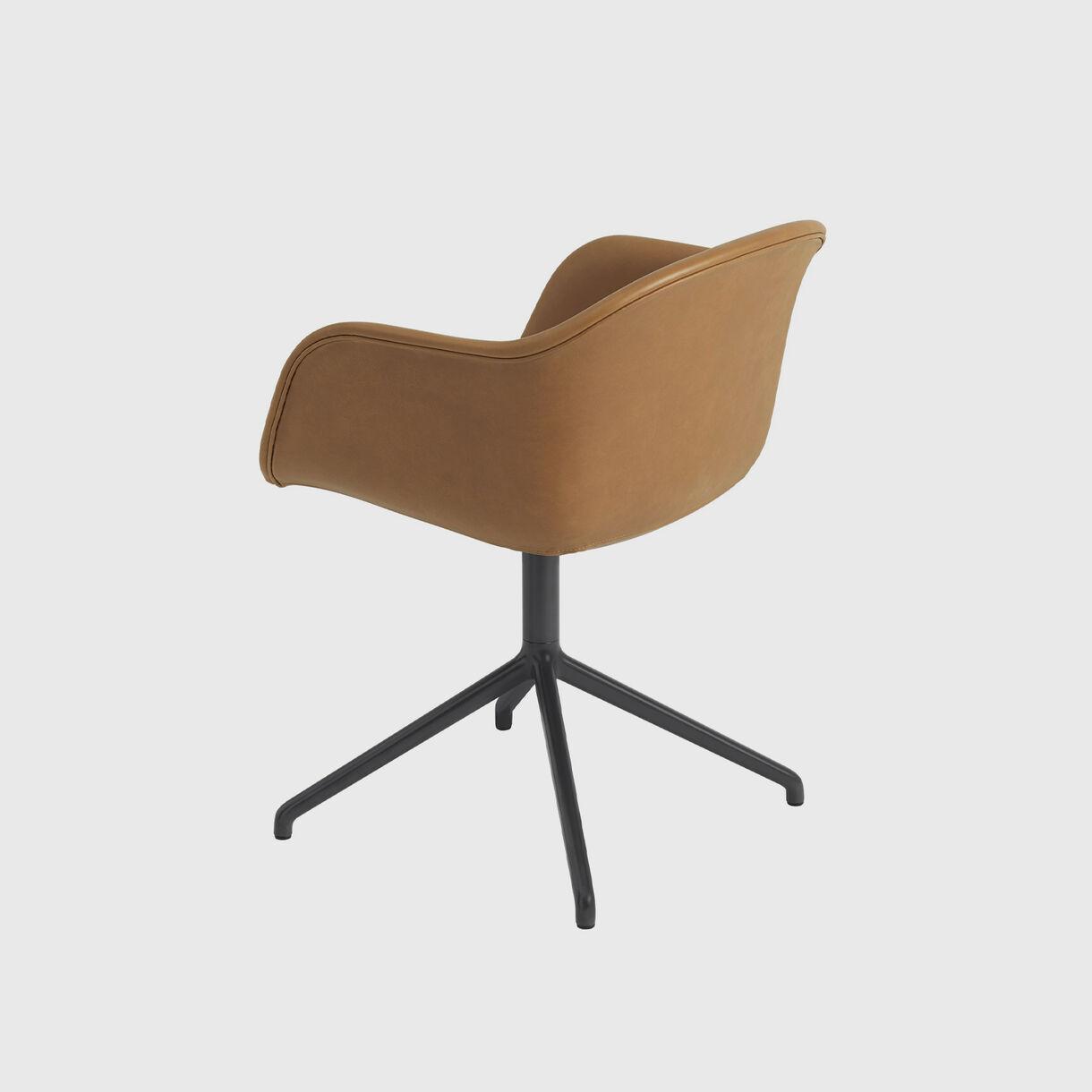 Fiber Armchair Swivel Base, Cognac Leather & Black