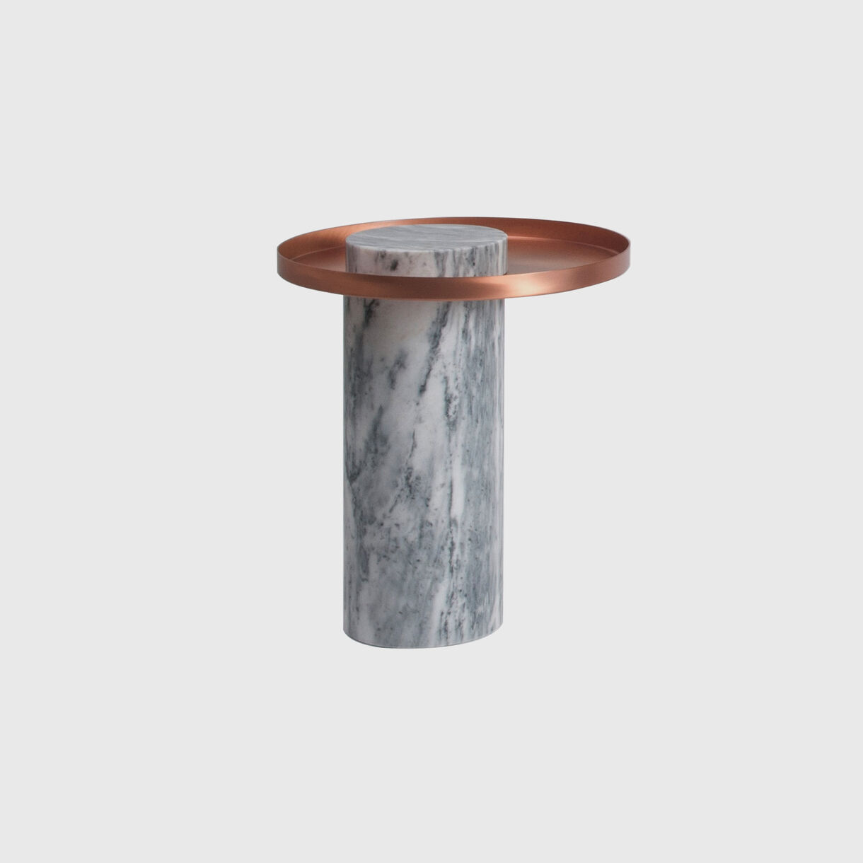 Salute Side Table, Medium, White Marble & Copper Tray