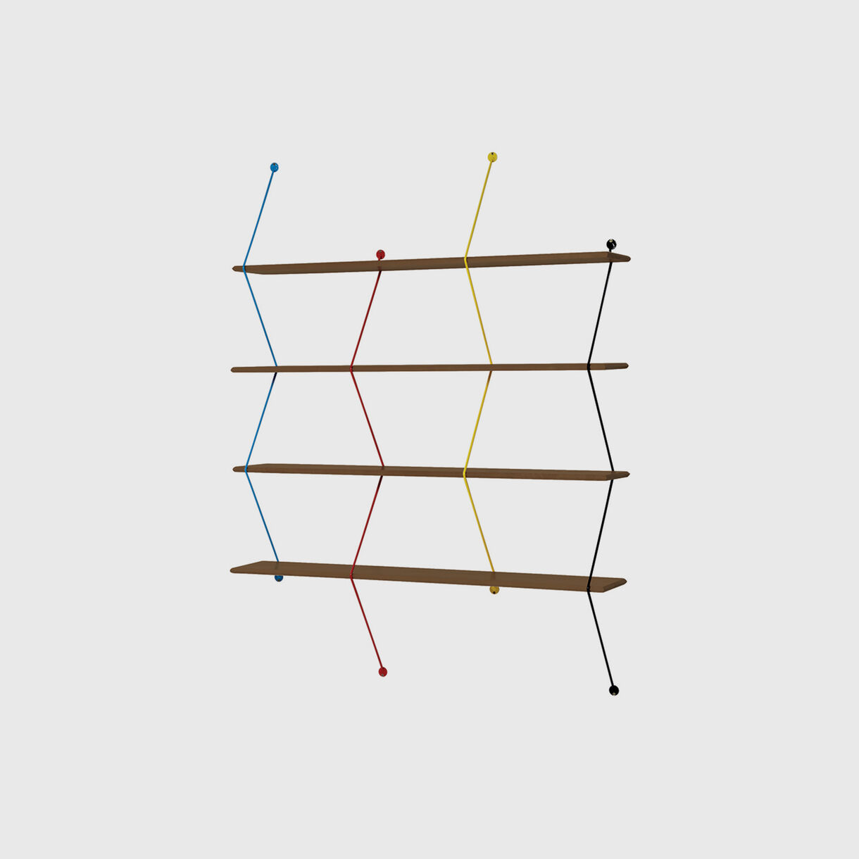 Climb Shelving System, Walnut & Coloured Wire