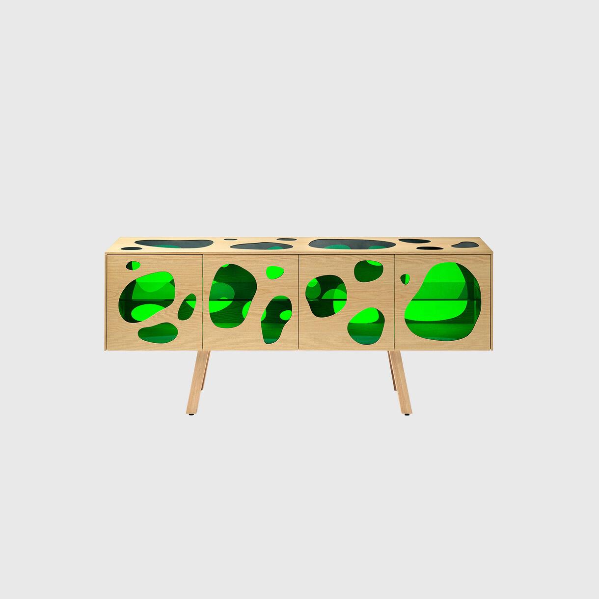 Aquario Cabinet, Green Glass & Natural Ash