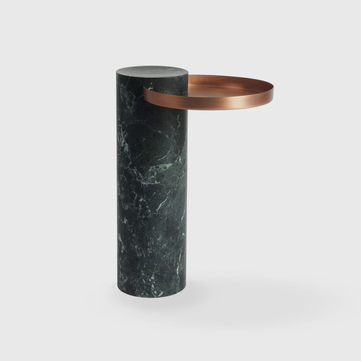 Salute Side Table, High, Green Marble & Copper Tray
