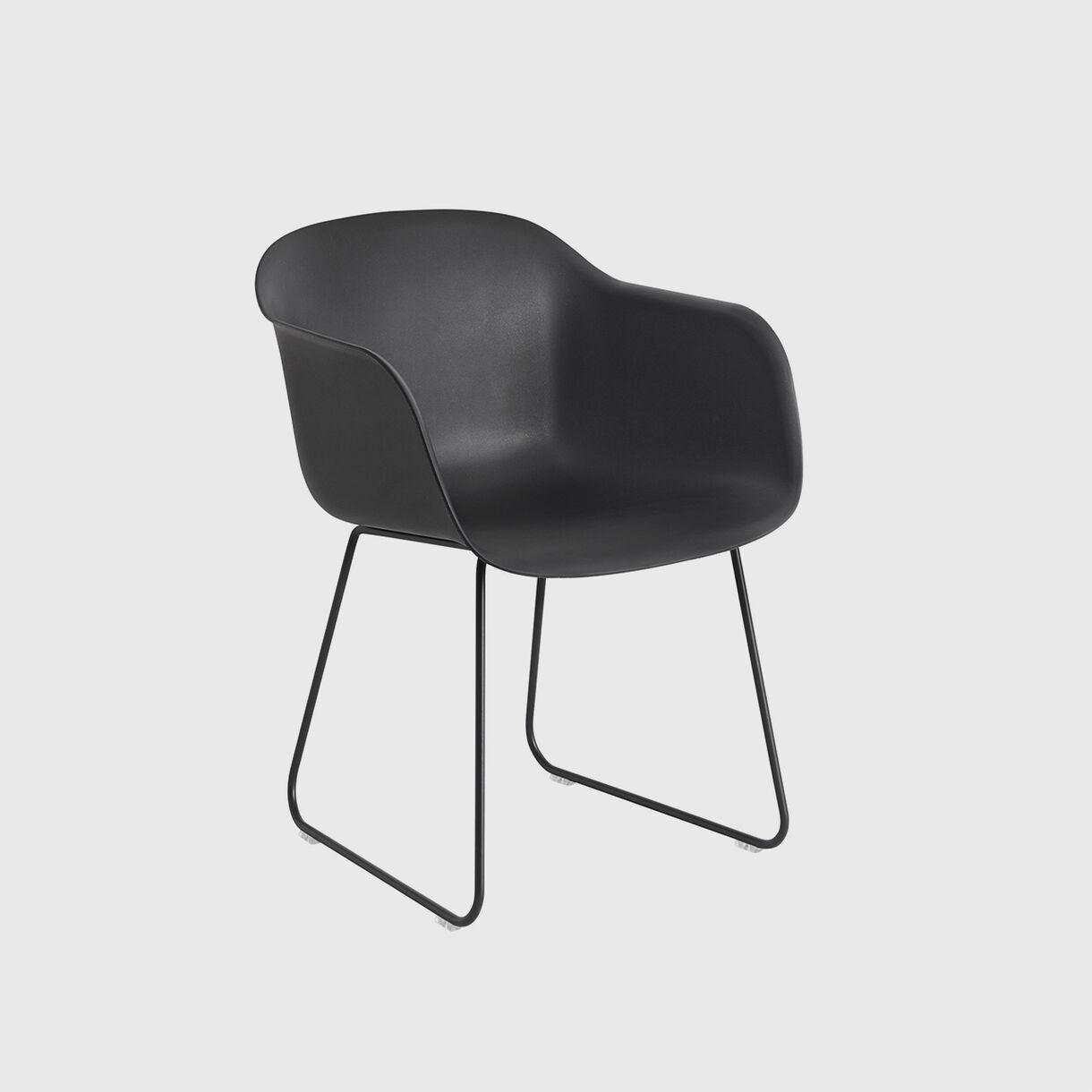 Fiber Armchair, Sled, Black