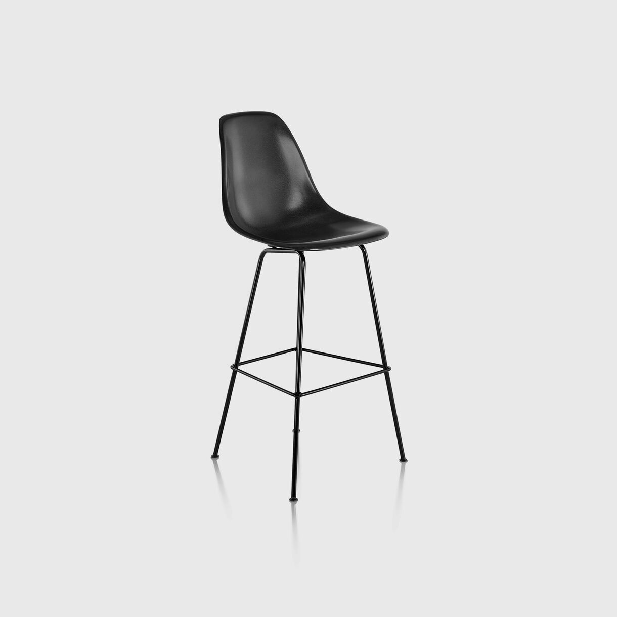 Eames Moulded Fibreglass Bar Stool, Black