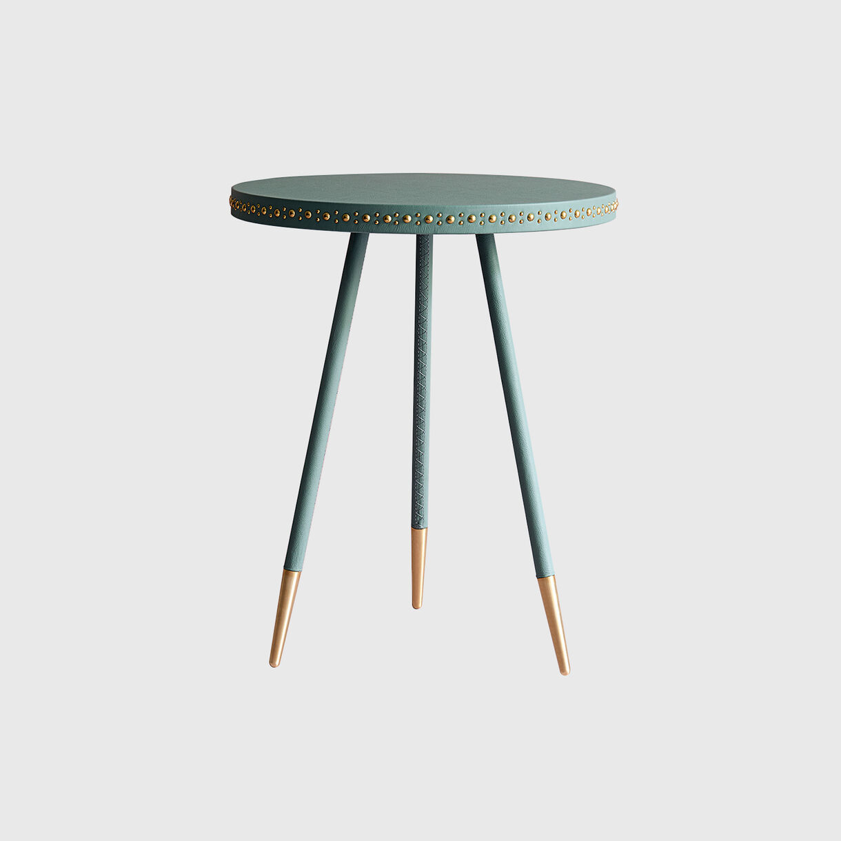 Stud Side Table, Jade & Brass