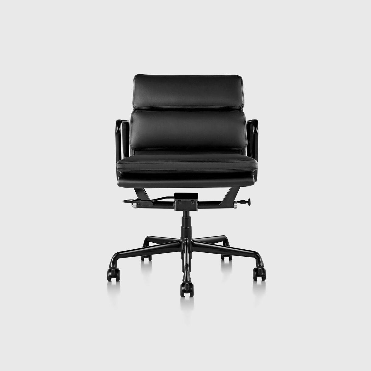 Eames Soft Pad Management Chair, Pneumatic, Black Frame & Black Leather