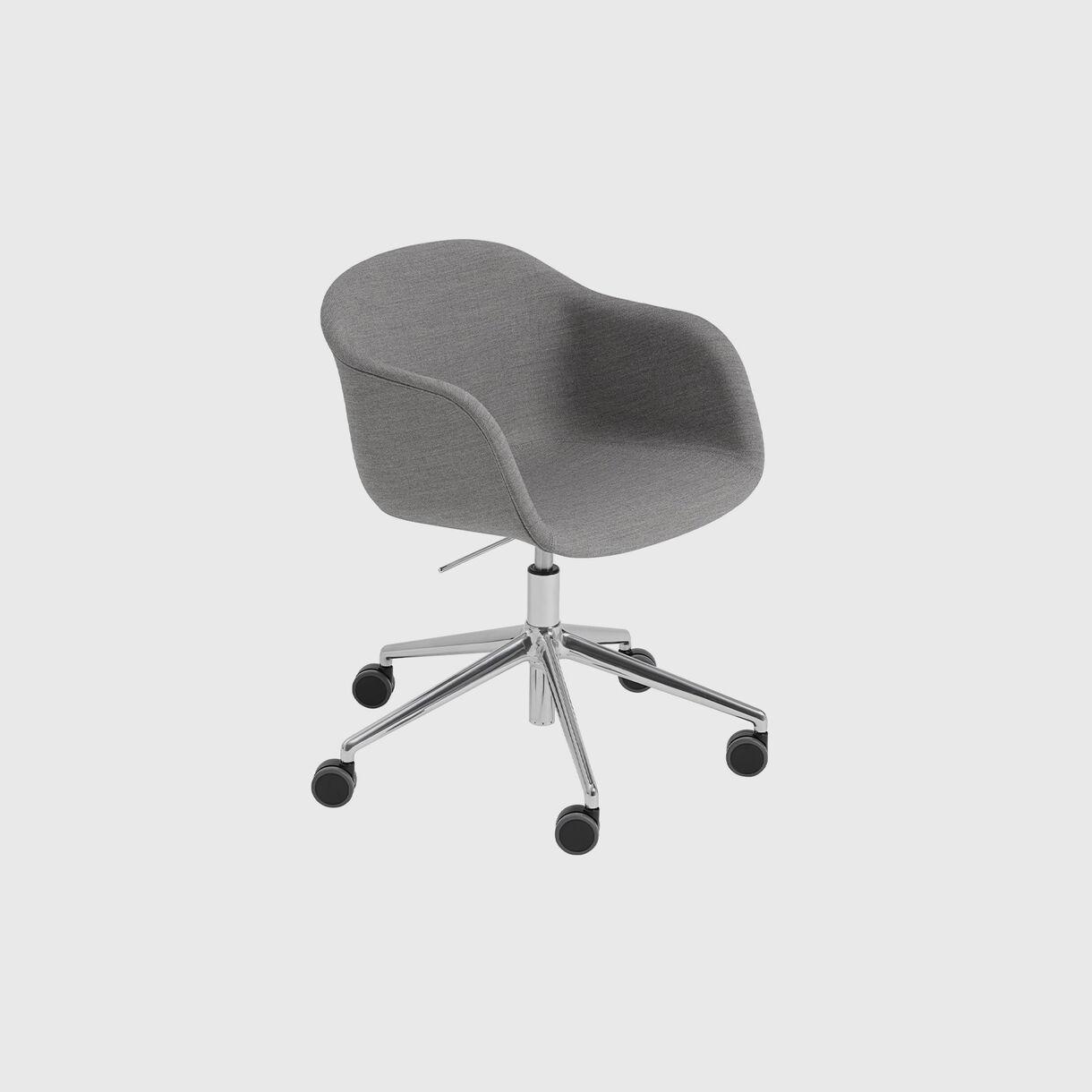 Fiber Armchair Upholstered, Remix 133 & Black, Swivel Base with Castors & Gas Lift, Grey