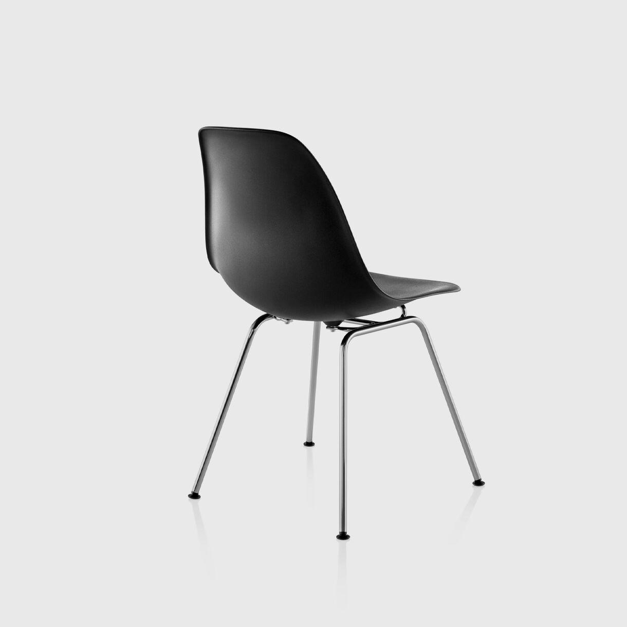 Eames Moulded Plastic Side Chair 4-Leg, Black, Chrome