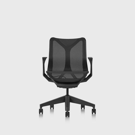 Cosm Chair, Graphite, Low Back, Fixed Arms