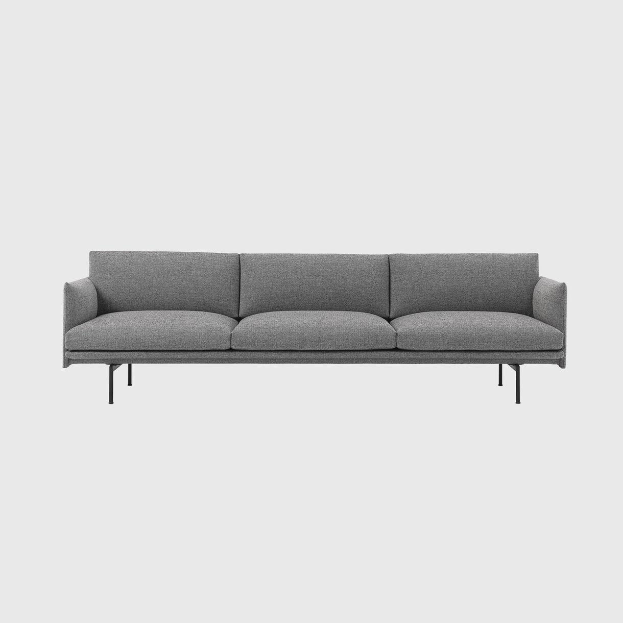 Outline 3.5 Seater Sofa, Hallingdal 166 & Black Base