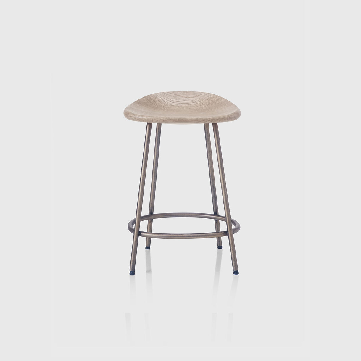 Pebble Counter Stool, Raw Oak & Bronze