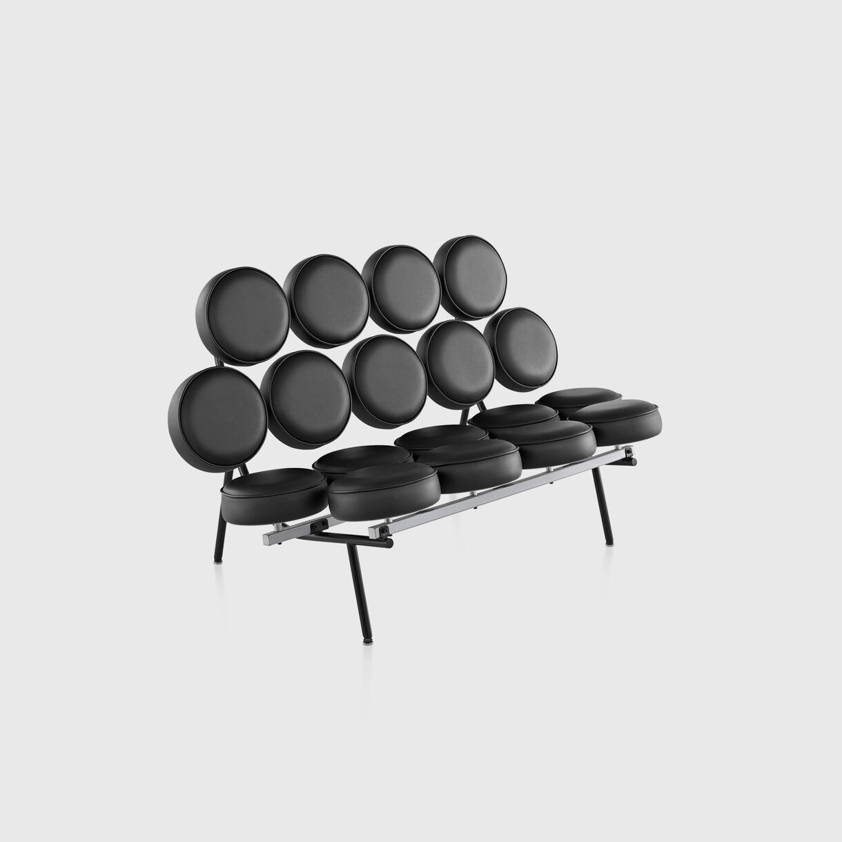 Nelson Marshmallow Sofa, Black Leather
