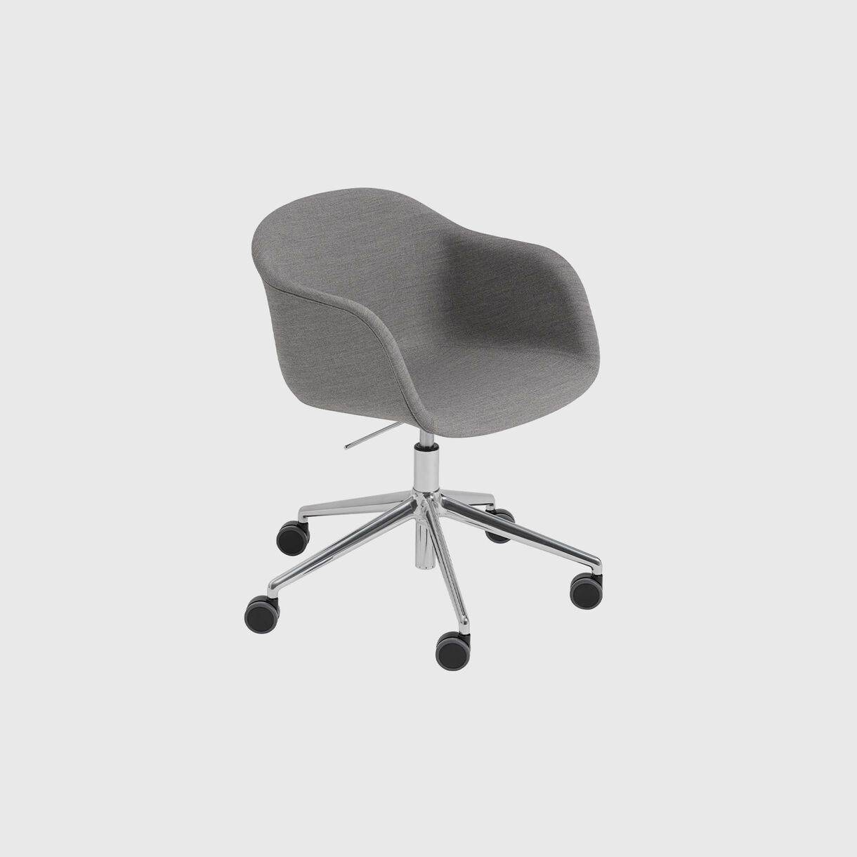 Fiber Armchair Upholstered, Remix 133 & Black, Swivel Base with Castors & Gas Lift, Grey