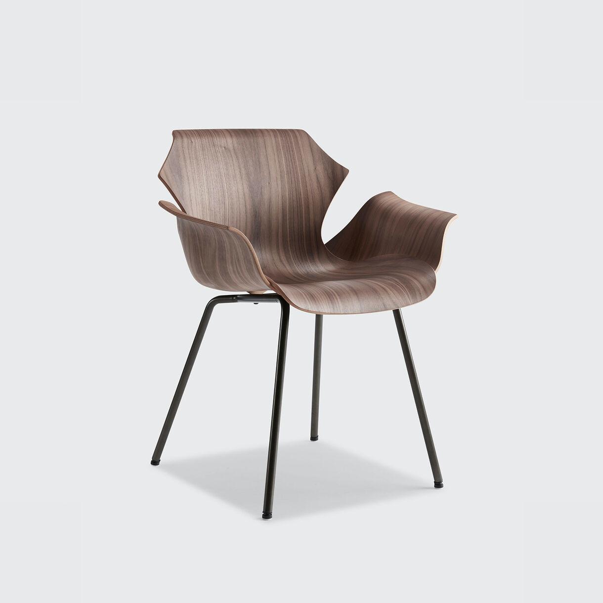 Petal Metal Base Armchair, Walnut