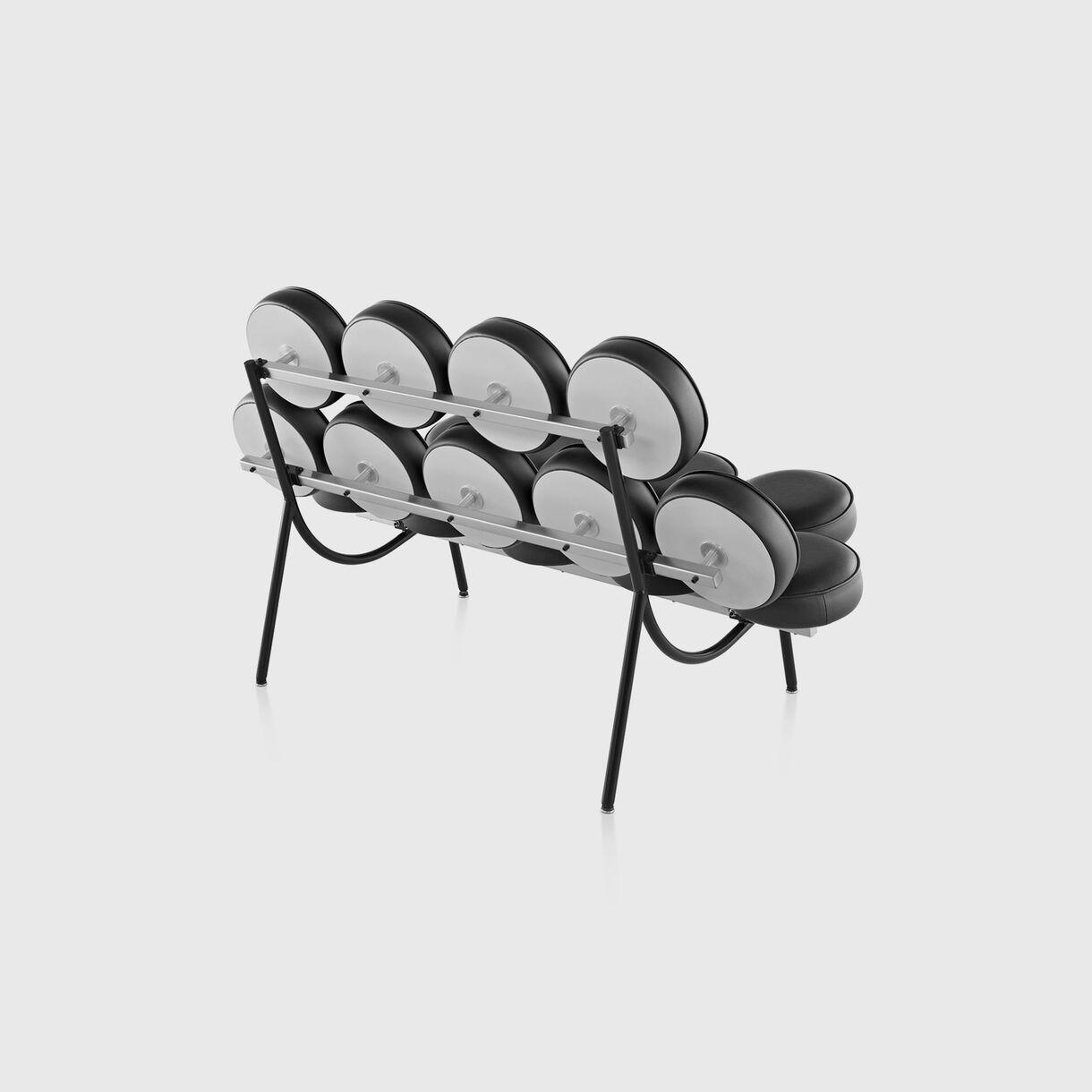 Nelson Marshmallow Sofa, Black Leather, Back Angled