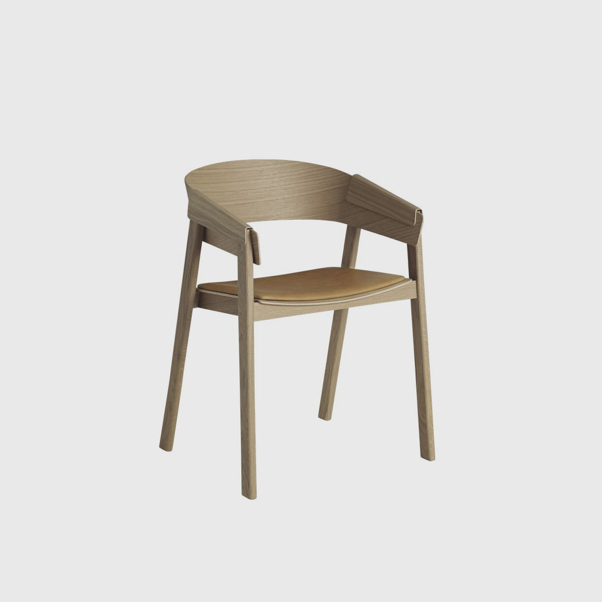 Cover Chair Upholstered, Oak & Cognac Leather