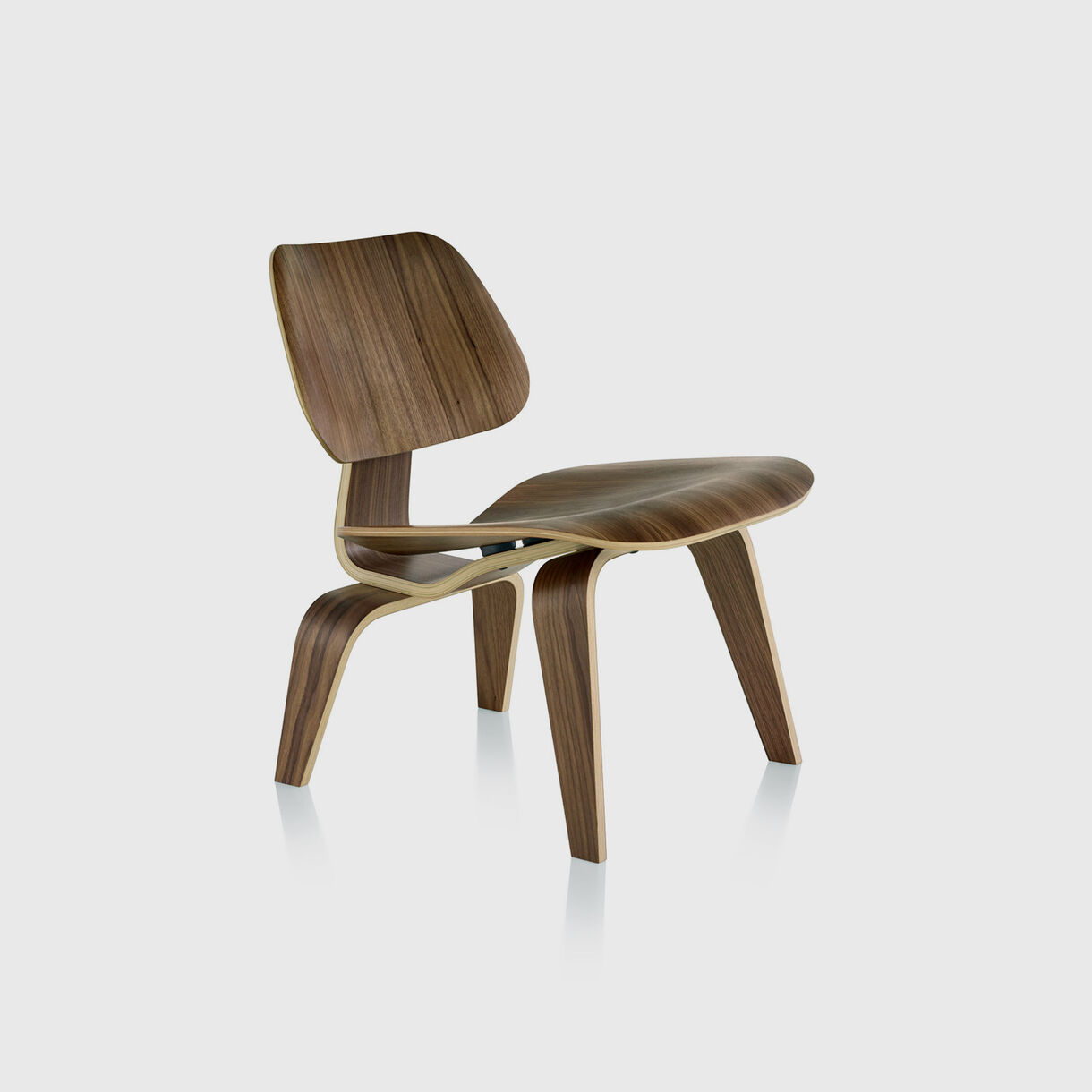Eames Moulded Plywood Lounge Chair, Wood Base, Walnut