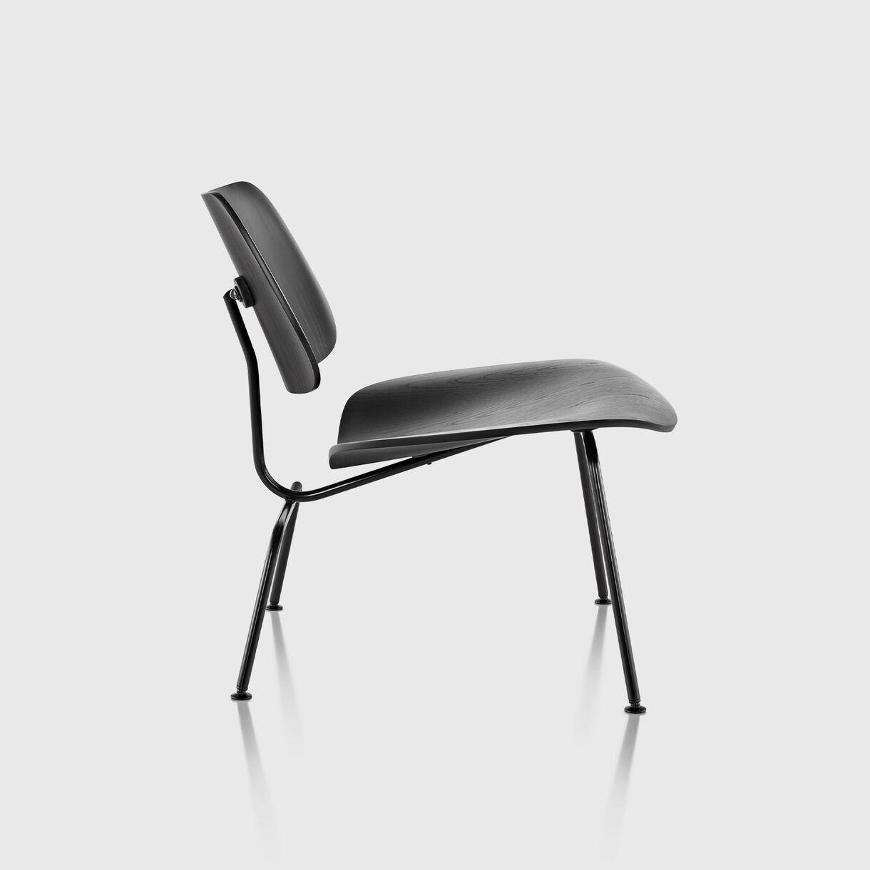 Eames Moulded Plywood Lounge Chair, Metal Base, Ebony & Black