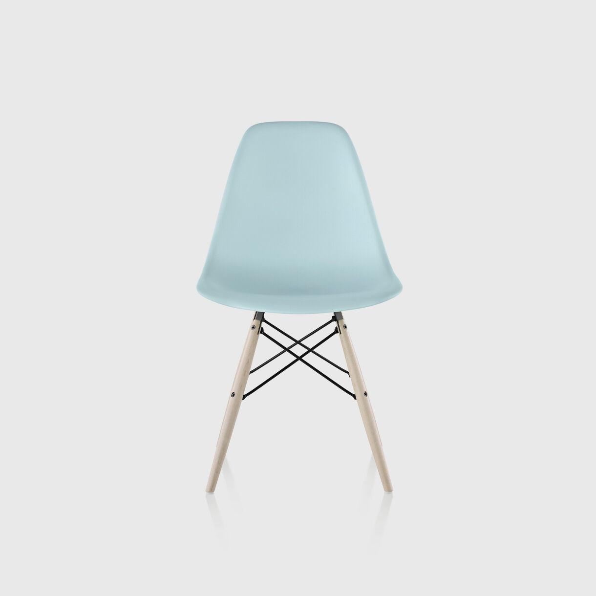 Eames Moulded Plastic Side Chair, Dowel, Aqua Sky & White Ash