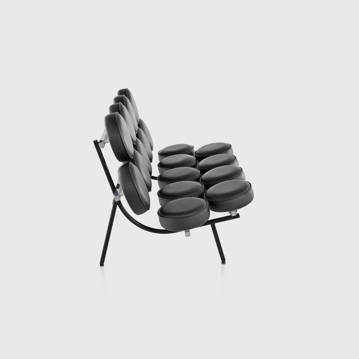 Nelson Marshmallow Sofa, Black Leather, Side