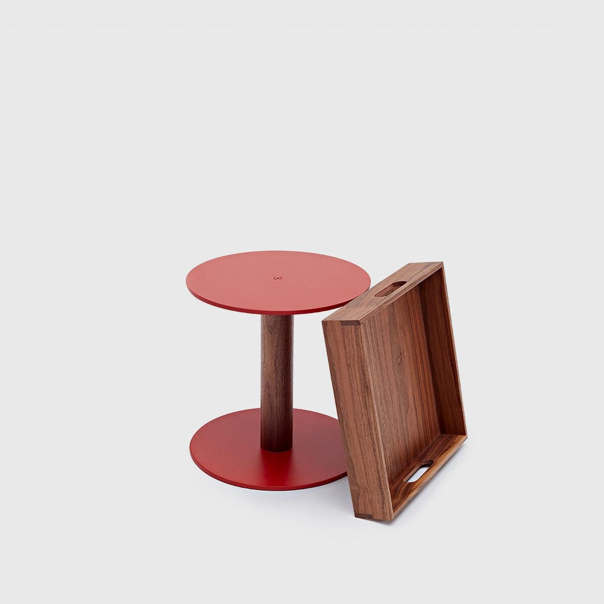 Ladica Side Table, American Black Walnut & Red Aluminium