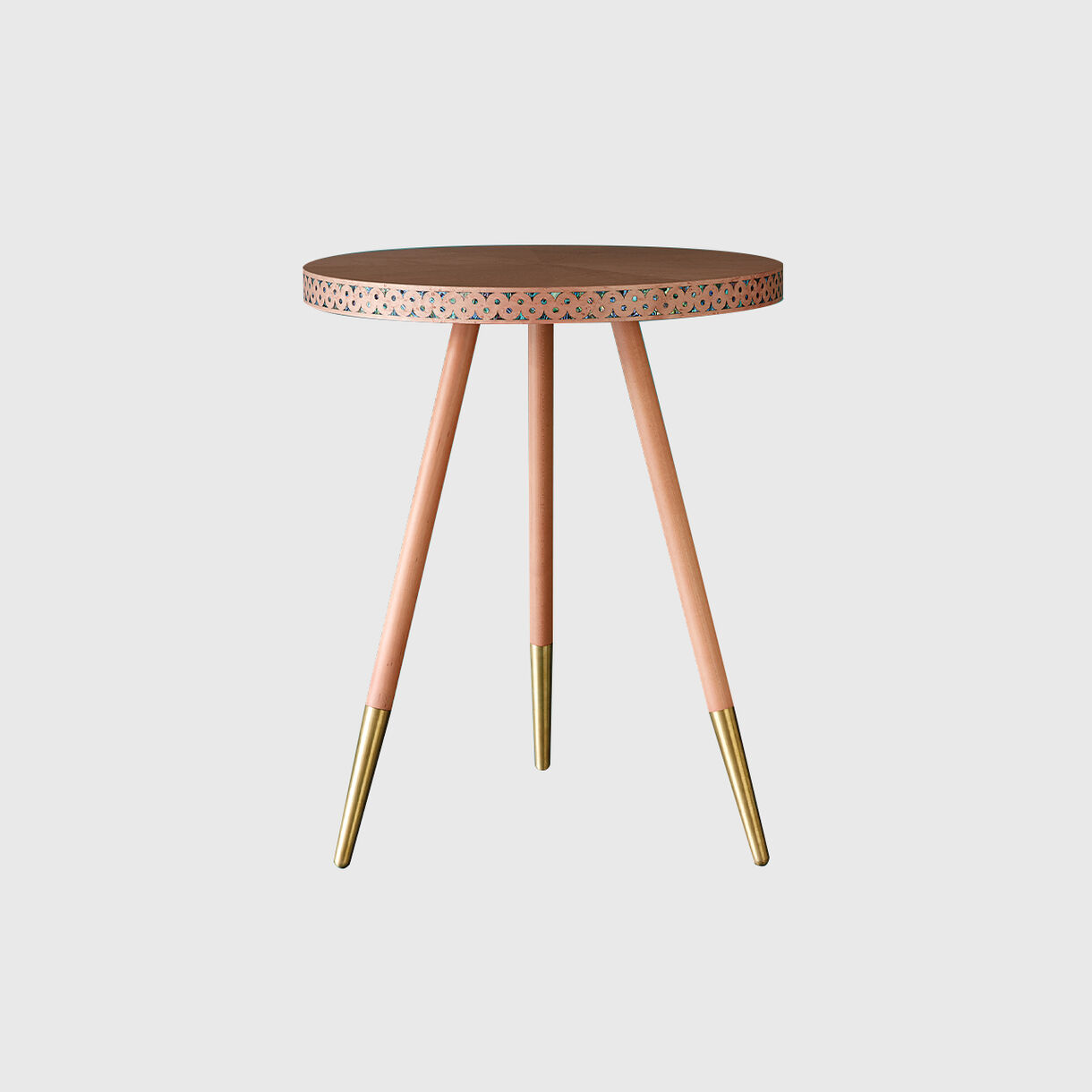 Paua Side Table, Coral & Brass