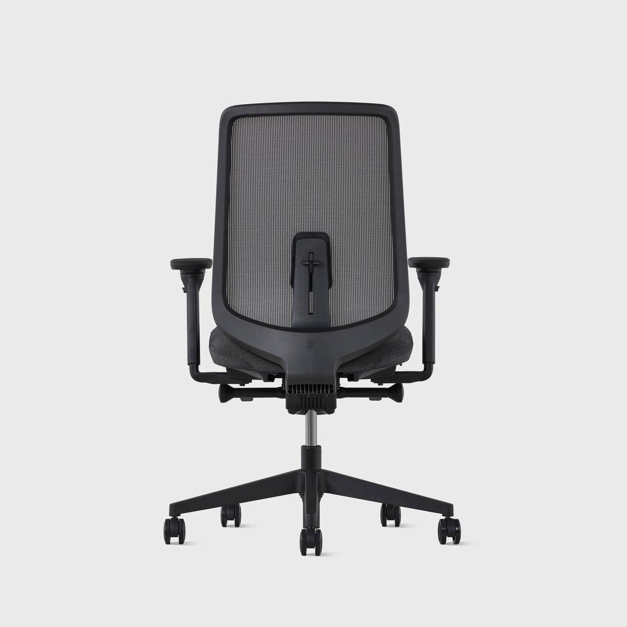 Verus Suspension Back Task Chair - Black Frame, Shale Interweave & Cinder Upholstery - Fully Adjustable Arms