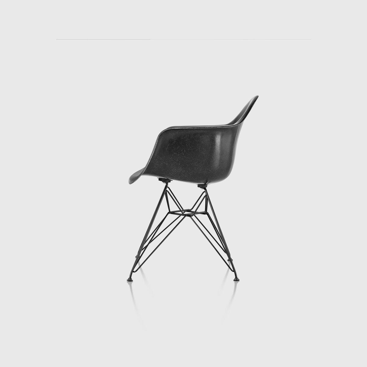 Eames Moulded Fibreglass Armchair, Wire Base, Black