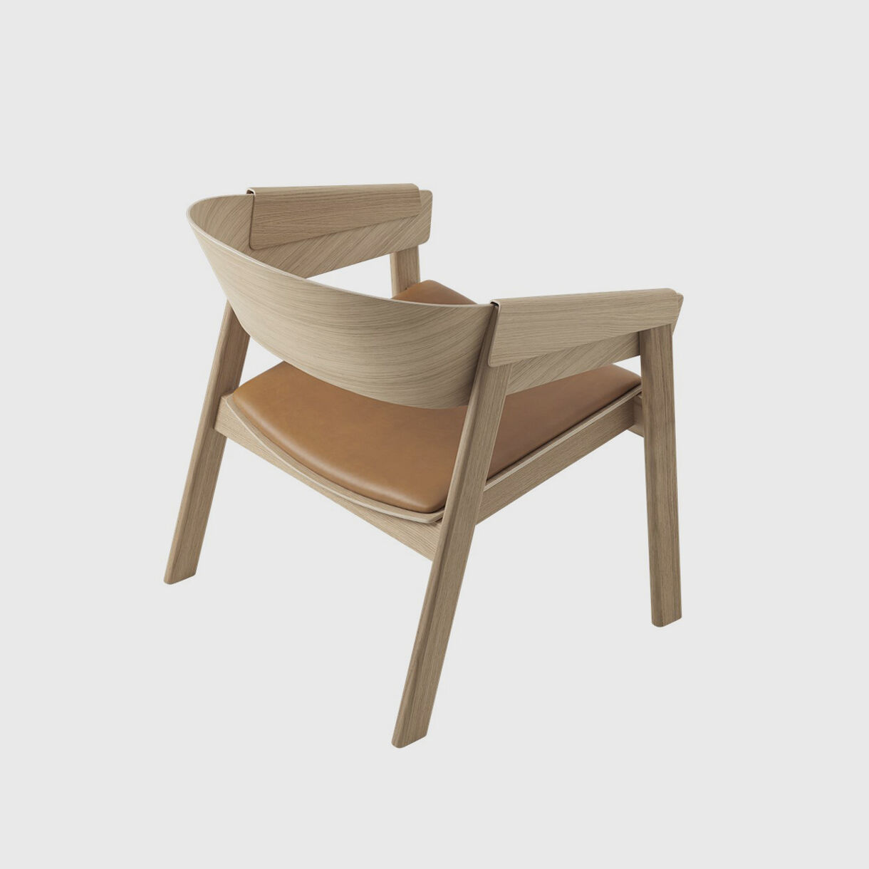 Cover Lounge Chair Upholstered, Oak & Cognac Leather