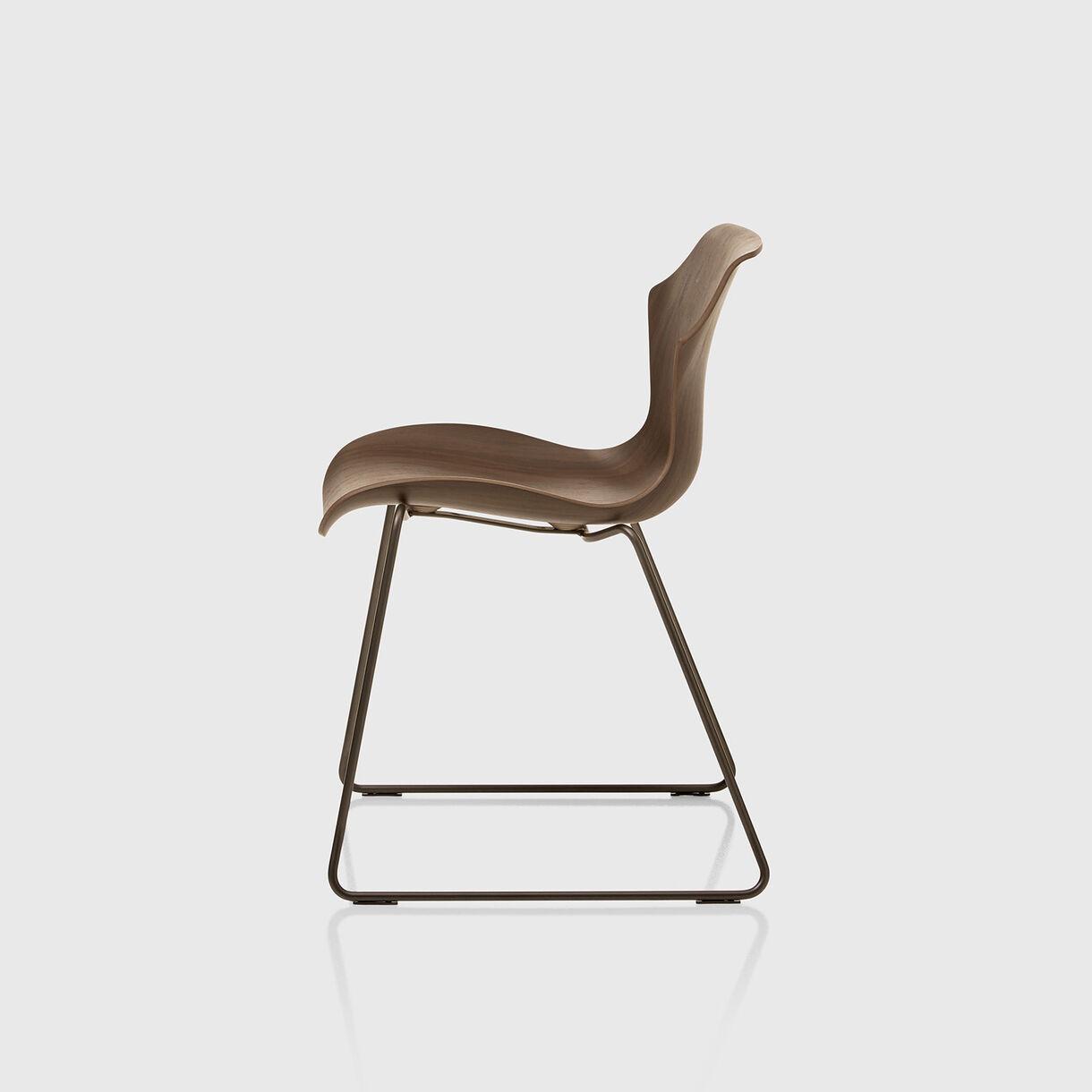 Petal Sled Base Chair, Walnut