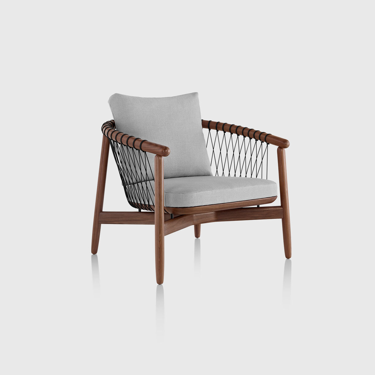 Crosshatch Lounge Chair, Walnut & Gray Wool Epingle