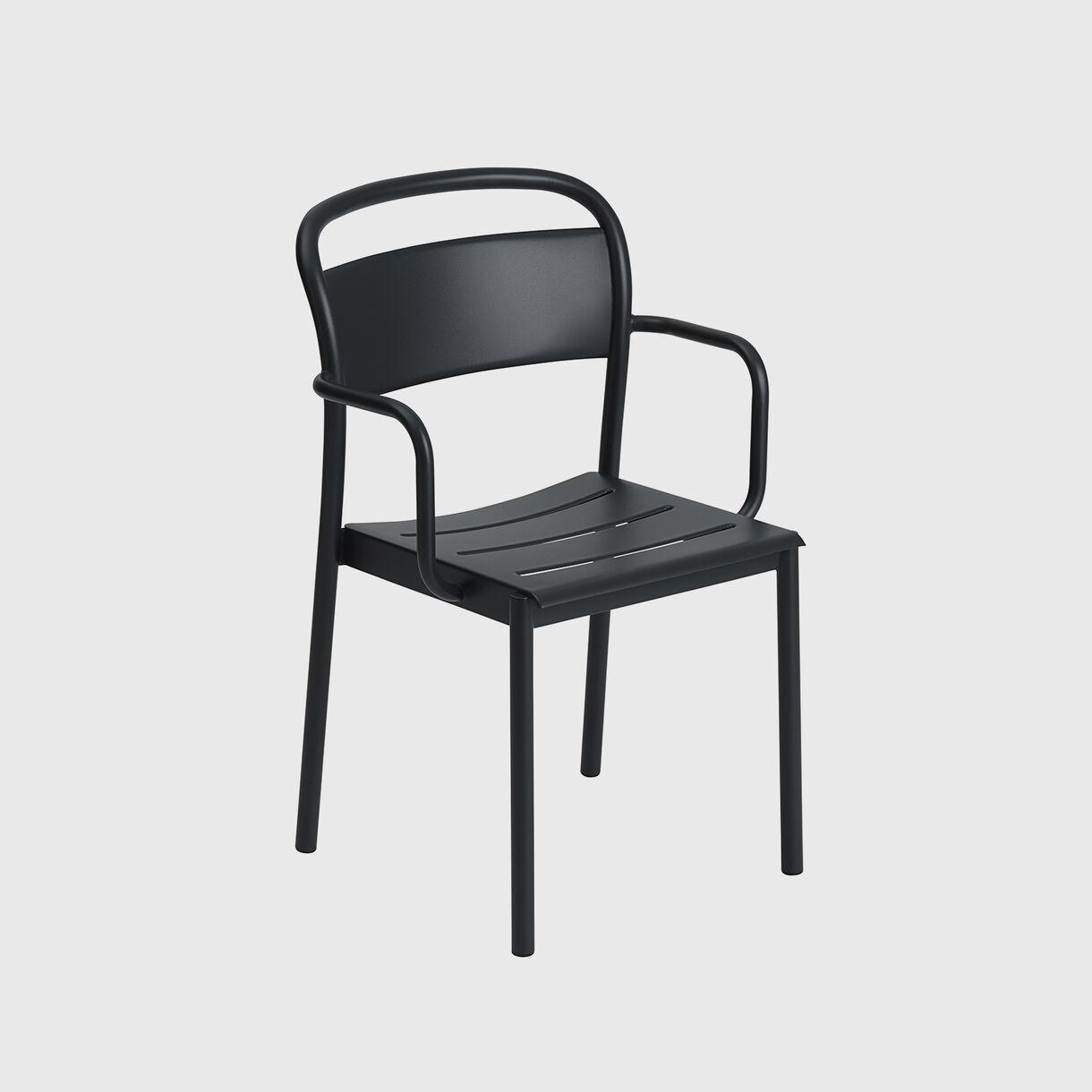 Linear Steel Armchair, Black