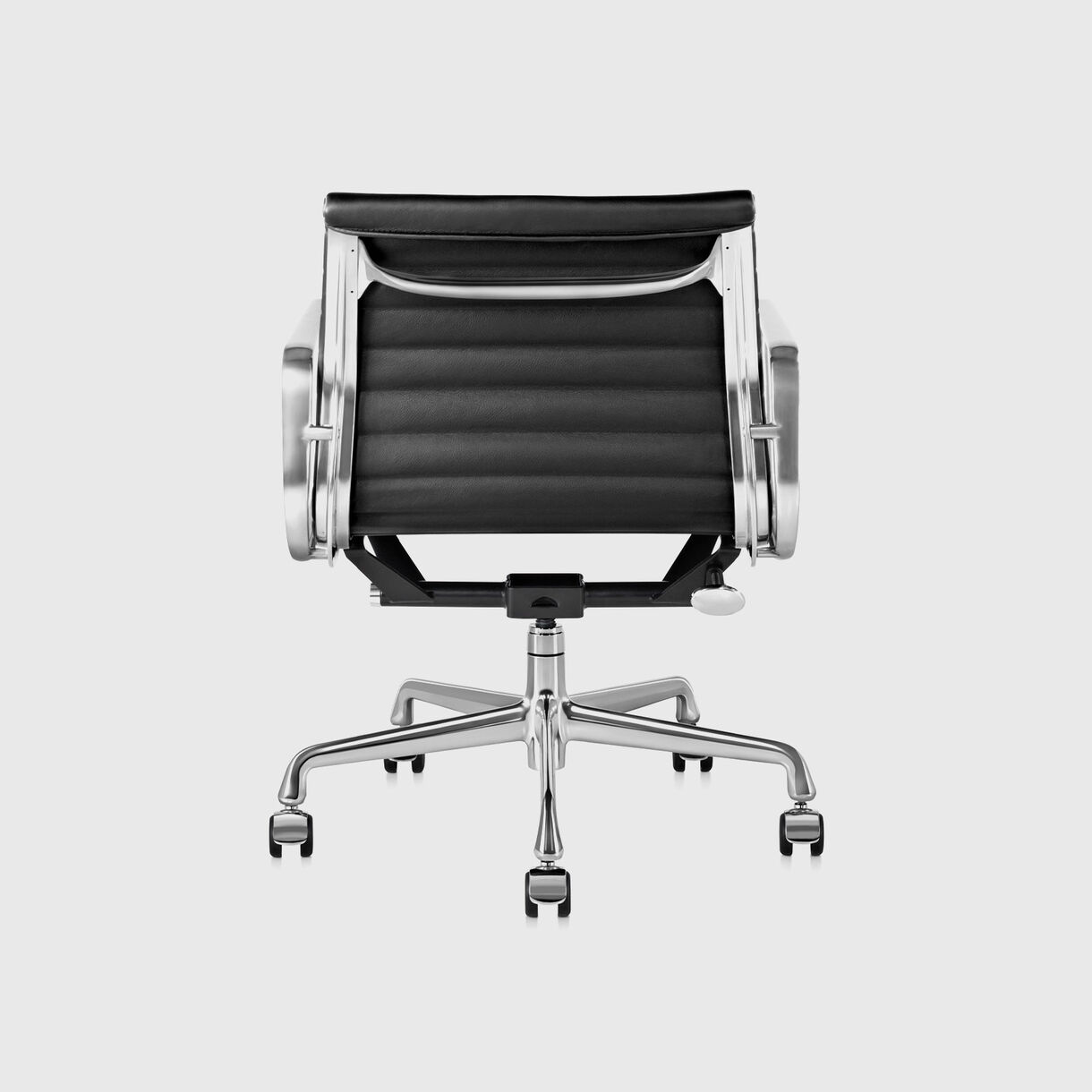 Eames Aluminum Group Management Chair, Chrome Finish with Black Leather