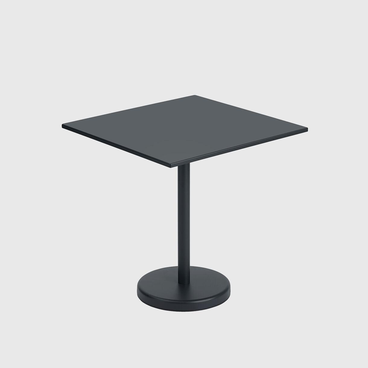 Linear Steel Cafe Table, Black